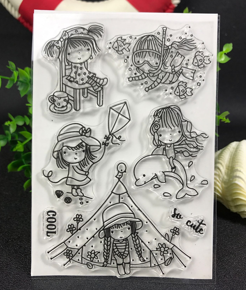 Travel girl Transparent Clear Silicone Stamp/Seal for DIY scrapbooking/photo album Decorative clear stamp lovely animals and ballon design transparent clear silicone stamp for diy scrapbooking photo album clear stamp cl 278