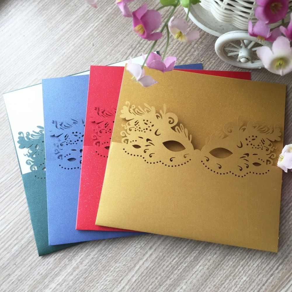 35 pièces Laser coupe masque conception Initations cartes carnaval célébration voeux bénédiction carte fournitures de fête