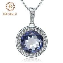 Ожерелье с подвеской из натурального голубого мистического кварца, 925 карата
