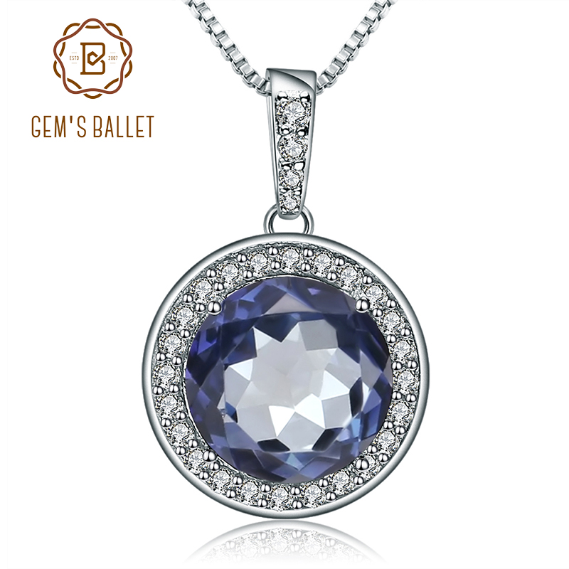 Gem's Ballet 4.78Ct Natural Iolite Blue Mystic Quartz Gemstone Pendant Necklace 925 Sterling Silver Fine Jewelry For Women