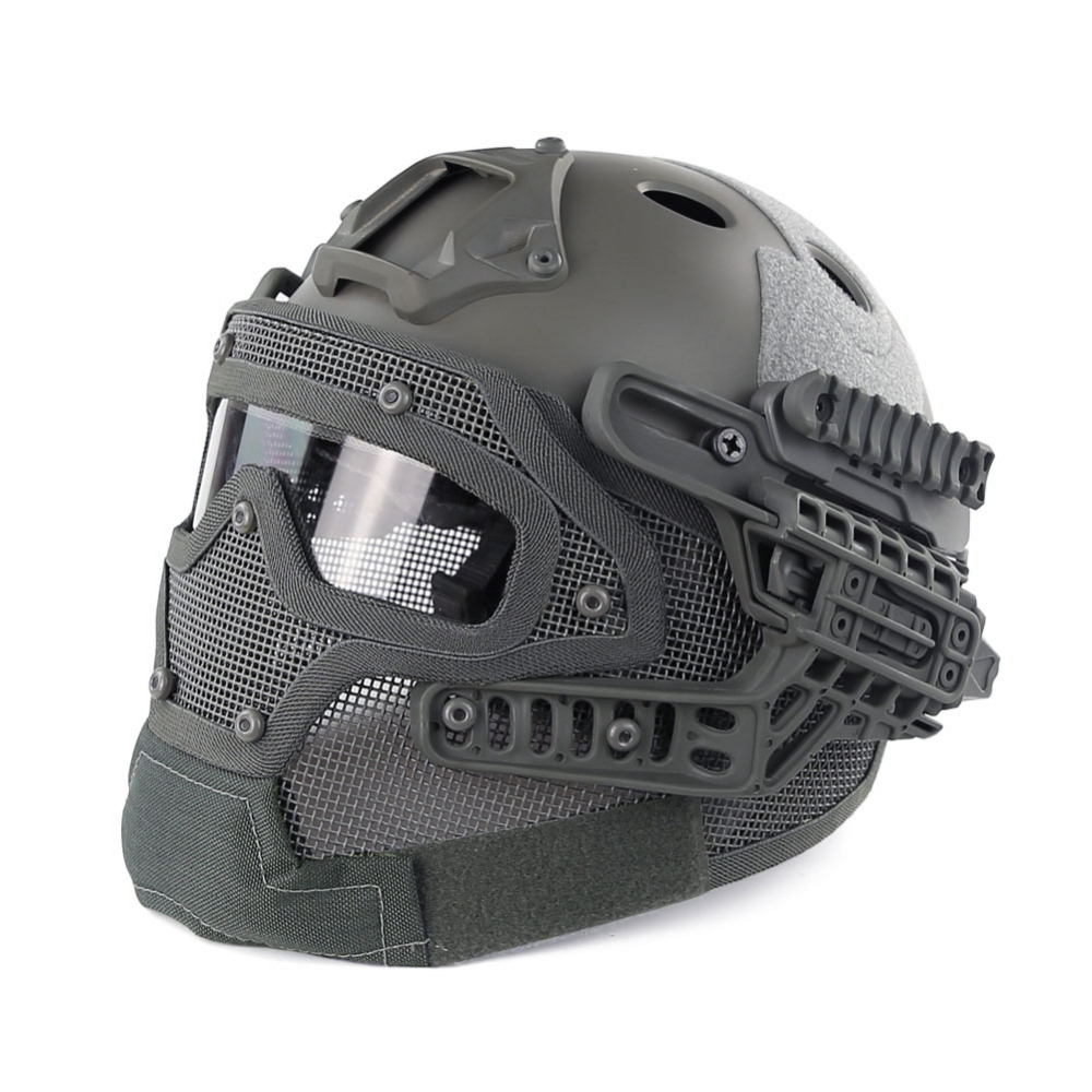 WoSporT Airsoft Tactical Military Helmet CS Combat Helmet Overall Protect Glass Face Mask with Goggles Helmet Equipment tactical helmet g4 system set pj airsoft helmet overall protect glass face mask goggles for military paintball war game