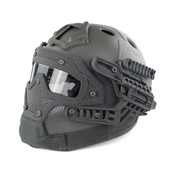 WoSporT Airsoft Tactical Military Helmet CS Combat Helmet Overall Protect Glass Face Mask with Goggles Helmet Equipment