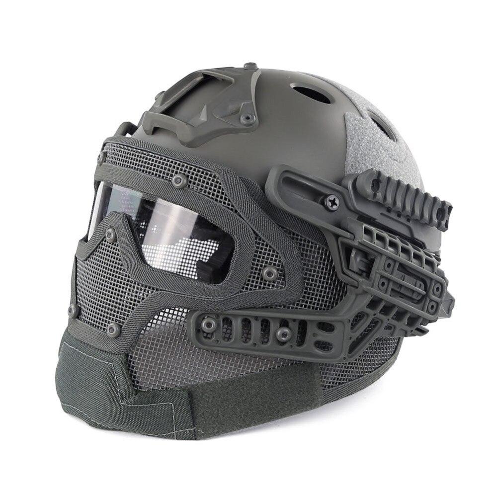 WoSporT Airsoft Tattico Militare Casco CS Casco di Combattimento Nel Complesso Proteggere Vetro Viso Maschera con Occhiali di Protezione Del Casco Attrezzature