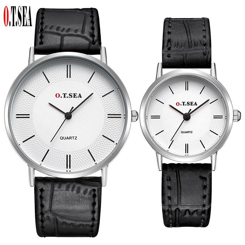 Luxury O.T.SEA Brand Silver Case Pair Leather Watches Men Women Ladies Lovers Fashion Dress Quartz Wristwatch 6688-5
