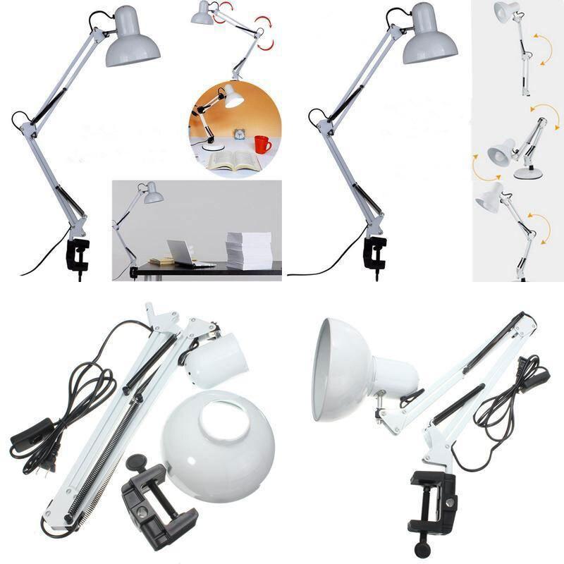 E27 белые светодиодные лампы с поворотным механизмом ночник для спальни настольная лампа классический зажим Настольная лампа для Кабинета