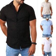 HEFLASHOR 2019 Casual Solid Cotton Linen Shirts Men Summer Fashion Sho
