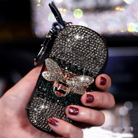 Car Key Bag Bee Cute Diamond Multi-function Zipper Keychain Universal Lady Driver's License Organizer Auto Key Cover Accessories