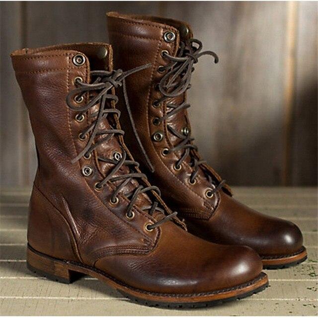 38-48 iş ayakkabısı Kışlık Botlar Erkekler Büyük Boy Peluş Sıcak Kış Ayakkabı Erkekler Kahverengi Vintage Erkek Botları Güvenlik Ayakkabıları