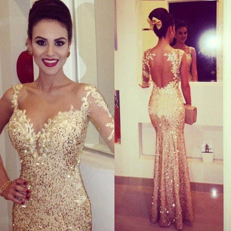 Gold Sequins Mermaid   Prom     Dresses   2019 gala jurken One Shoulder Imported Party   Dress   Open Back Formal Women Gowns