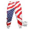 New Pattern Time-limited Fashion Regular Clothing 2016 Good Quality Men's Knitted Trousers 3d Starry Sky Usa Flag Men Long Pants