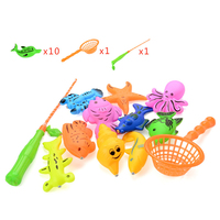 12pcs Set Magnetic Fishing Game Kids 1 Rod 1 Net 10 3D Fish Baby Bath Toys
