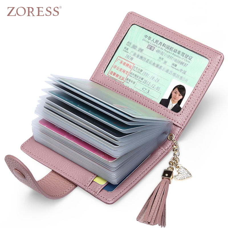 ZORESS Genuine Leather Women Fashion Card Holder 22 Card Slots Large Capacity Girls ID Credit Card Case Bag Purse Wallet 8 Color