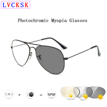 лучшая цена Pilot Intelligent Photochromic Myopia Glasses Men nearsighted Sunglasses Women shorted sighted blear-eyed Spectacles B3