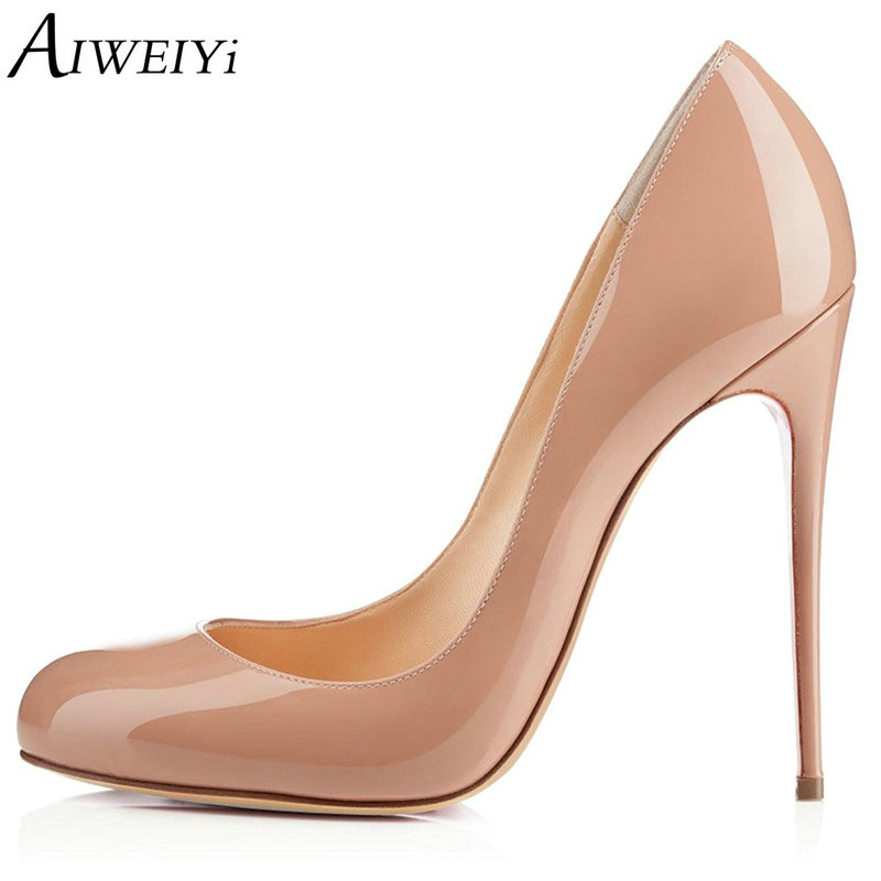 AIWEIYi 2018 Women Pumps Patent Leather Stiletto High Heels Round toe Slip On Ladies Party Wedding Shoes Thin High Heels Shoes nayiduyun women genuine leather wedge high heel pumps platform creepers round toe slip on casual shoes boots wedge sneakers