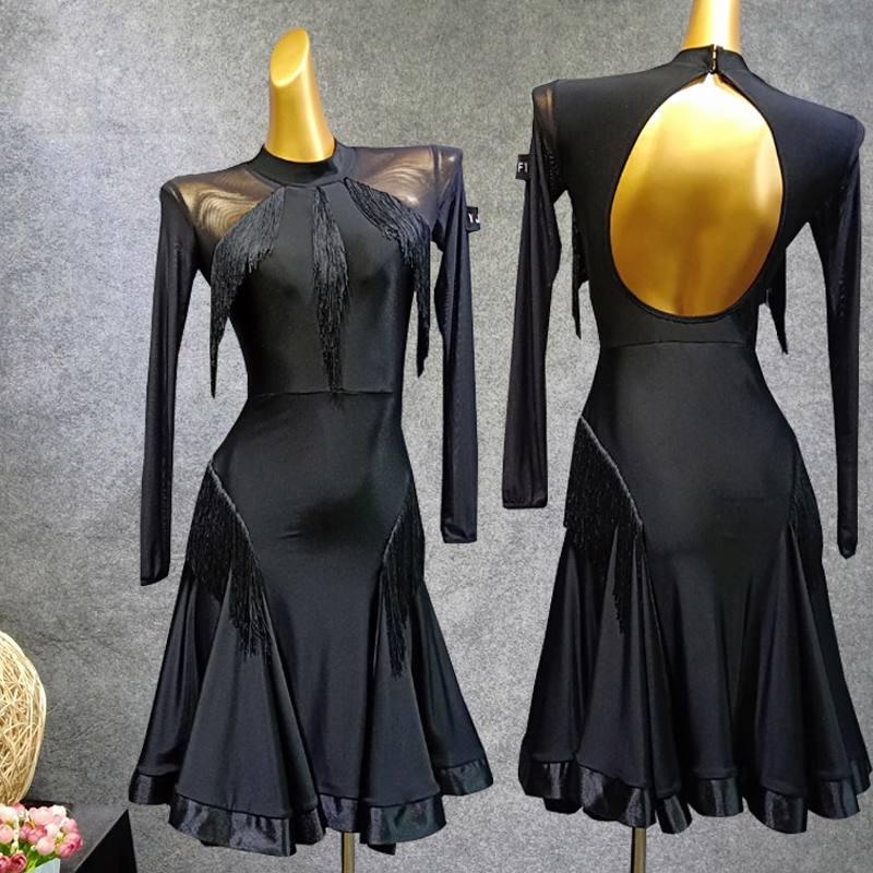 Latin Dance Dress Women Black Long Sleeve Dress Gauze Vestido Flecos Flamengo Rumba/Samba/Tango Dress Black Dance Dresses VDB479
