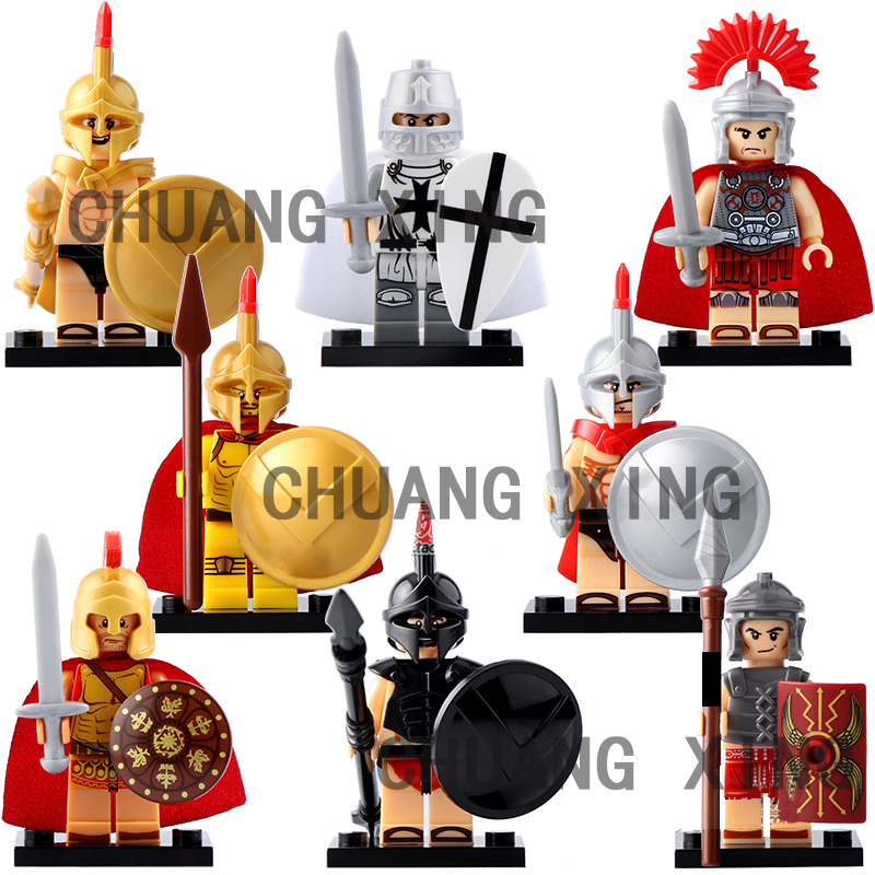 Military Army Roman Soldiers Centurion Figures Shield Sparta Medieval Knights Heavy Infantry Weapon Building Block guerre moderne lego