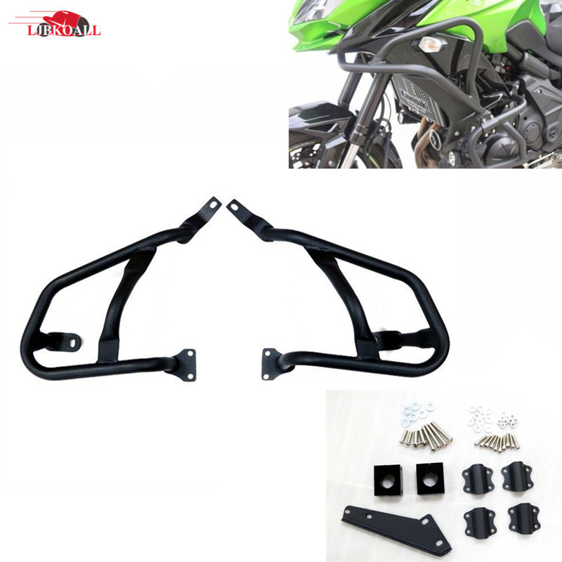 Black Steel Crash Bar Engine Guard Frame Protector for 2015-2016 Kawasaki Versys 650 Motorcycle Accessories for kawasaki vulcans 650 vn650 en650 2015 2016 front upper engine highway refit tank protection crash bar guard frame protector