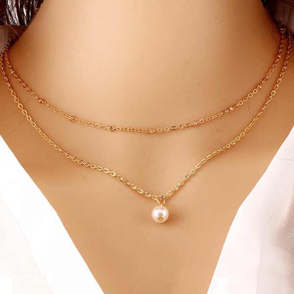 Seblasy ホット販売多層ムーン鳥花クロス模擬真珠チェーンネックレスペンダント女性の誕生日ギフトジュエリー