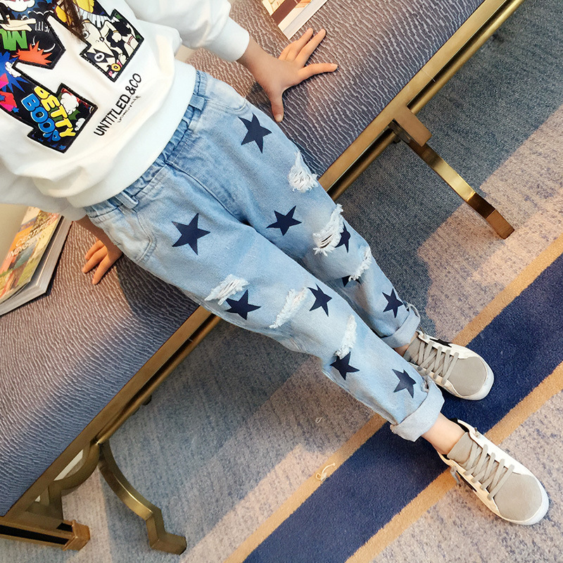 Jeans For Girls 2017 Spring New Brand Star Big Hole Pants For Children Girl Casual Patchwork Geometric Pattern Trousers Hot Sale nitenumen 1800lumens bike front light cycling headlight bicycle rechargeable flashlight waterproof 6400mah led head lamp for mtb
