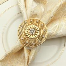 5PCS Hotel Western Restaurant High-grade alloy diamond-studded hollow napkin buckle Napkin ring
