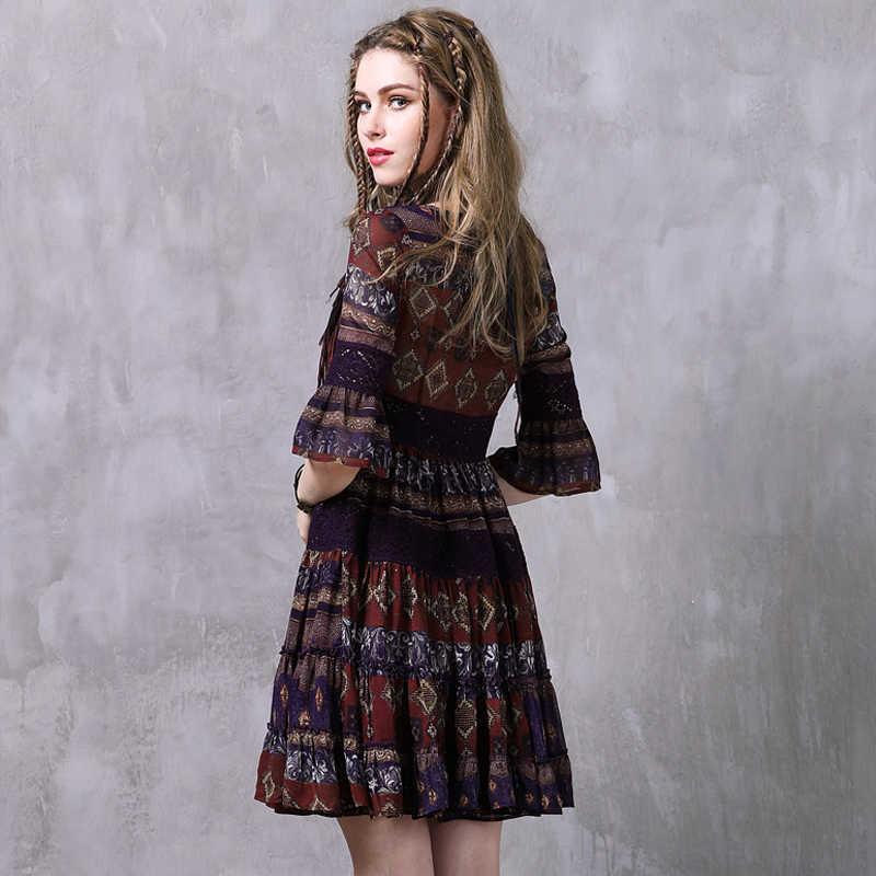 קיץ שמלת 2017 Yuzi. עשוי Boho חדש שיפון Vestidos קצר שרוול גבוה מותניים O-צוואר אונליין פרחוני הדפסת נשים שמלות A8223