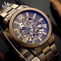 Shenhua Retro Vintage Metal Steel Mechanical Watches Men 2018 Bronze Steampunk Automatic Skeleton Self Winding Luminous Watch