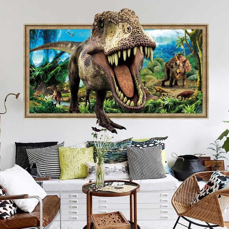 3D фальш-окно динозавры стикер на стену спальня гостиная переклеивающиеся декоративные наклейки Фреска Nalepki Do Pokoju