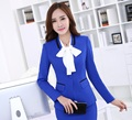 Novelty Blue Uniform Styles Professional Business Formal Blazers Jackets Ladies Office Fashion Slim Long Sleeve Women Tops Coat