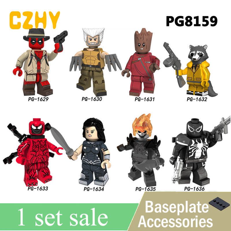 PG8159 Super Heroes Deadpool Wolverine Tree Man Rocket Raccoon Figures Building Blocks Christmas Toys Gifts недорго, оригинальная цена