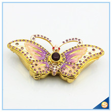 Butterfly Faberge Styled Trinket Box Handmade Decorated with Crystals