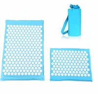 COMBO 2 Pcs 1 regular + 1 travel size Acupuncture Mat Pain Relief Acupressure Massage Cushion Spike Yoga Mat with Cloth Bag