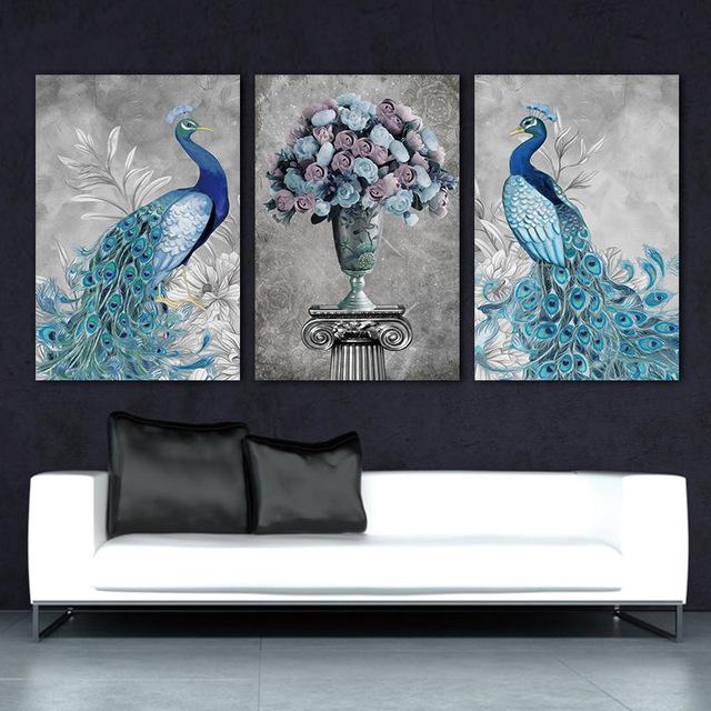 Canvas Wall Art Peacock 3D Modular Pictures