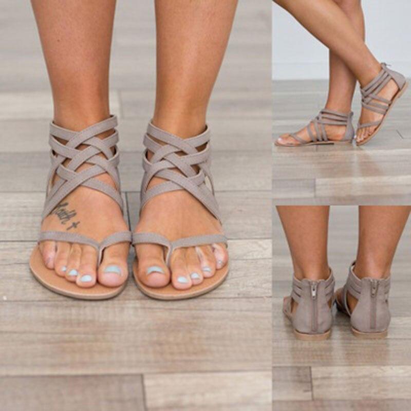 Summer Women Rome flat sandals hot sale female beach sandals sandalia feminina comfortable flip flops gladiator women shoes