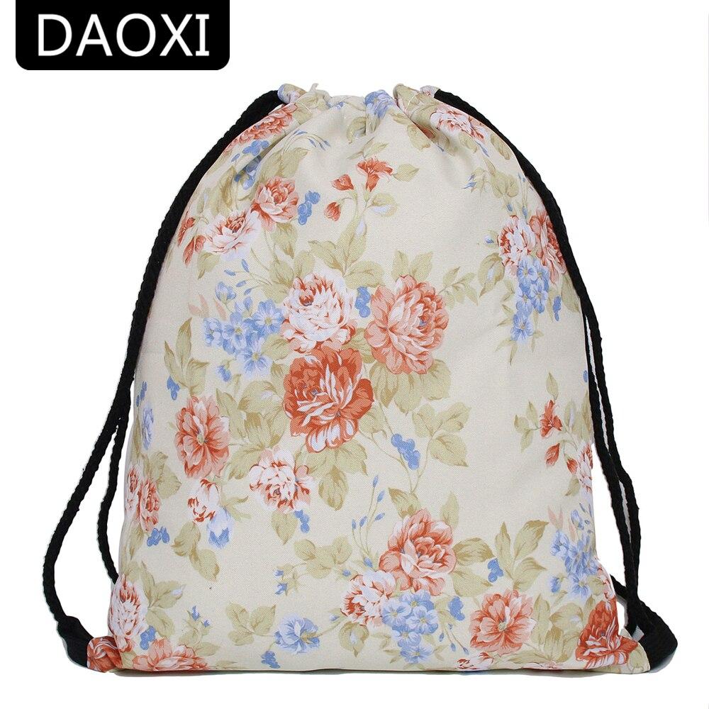 DAOXI Flowers Drawstring Bags 3D Printing Women Vintage Backpacks for Summer YY10158 drawstring bags