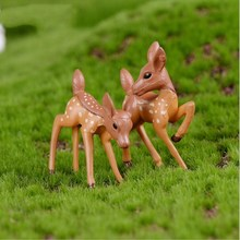 mix10pcs/lot Artificial mini sika deer fairy garden miniatures gnomes moss terrariums resin crafts figurines for home decoration