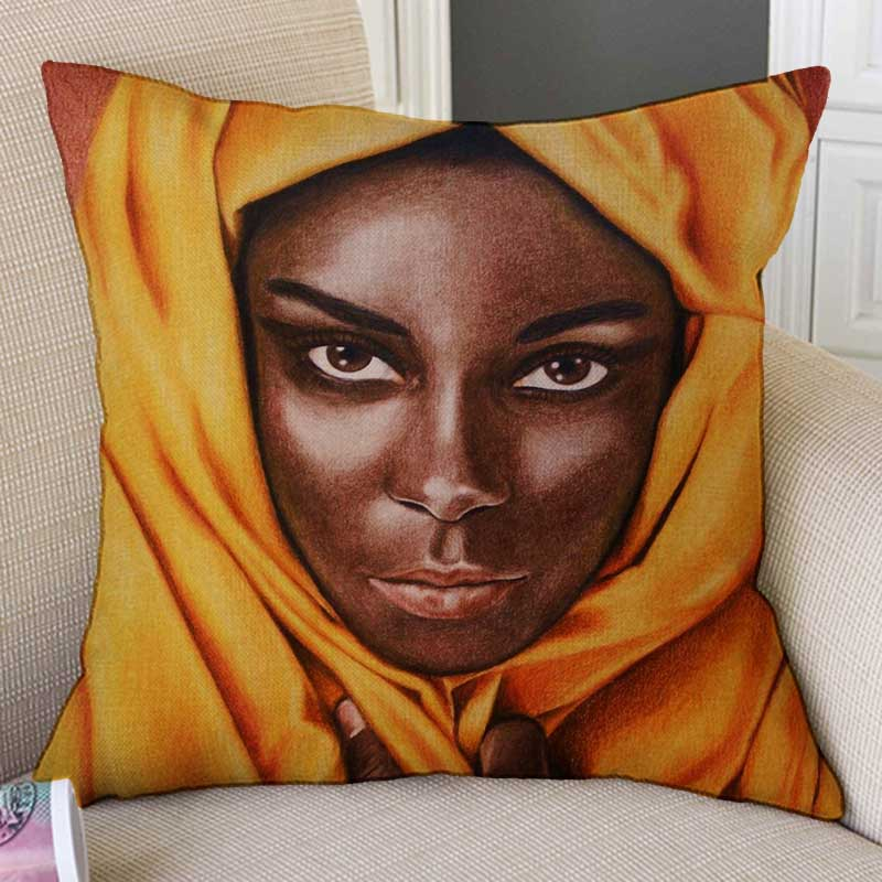 New Africa Art Black Girl African Woman Oil Painting Cute Pillow Cover For Sofa -3761