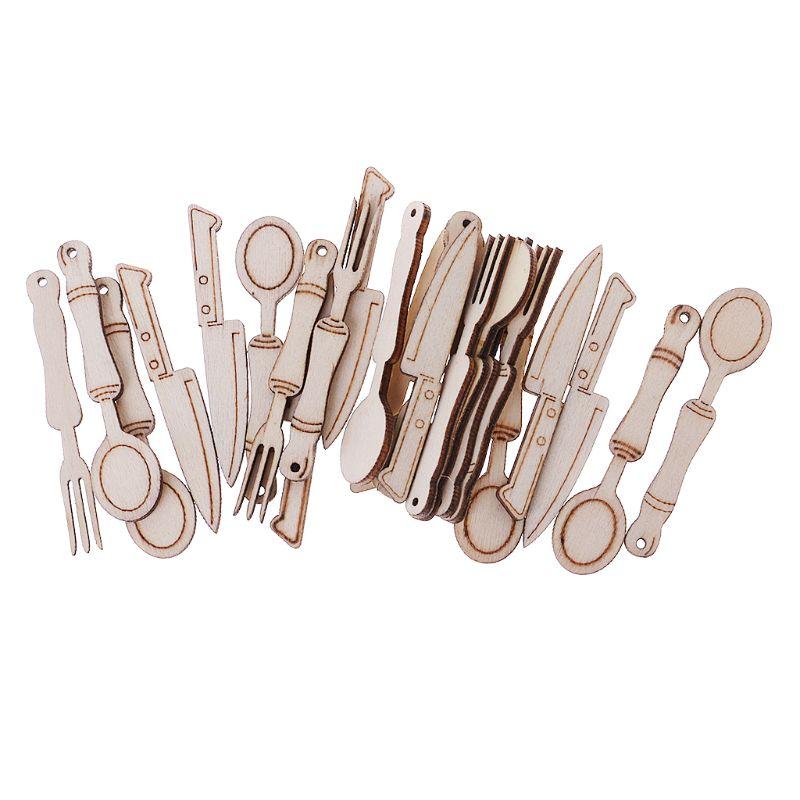 25Pcs/Bag Laser Cut Wood Tableware Embellishment Wooden Shape Craft Wedding Decor