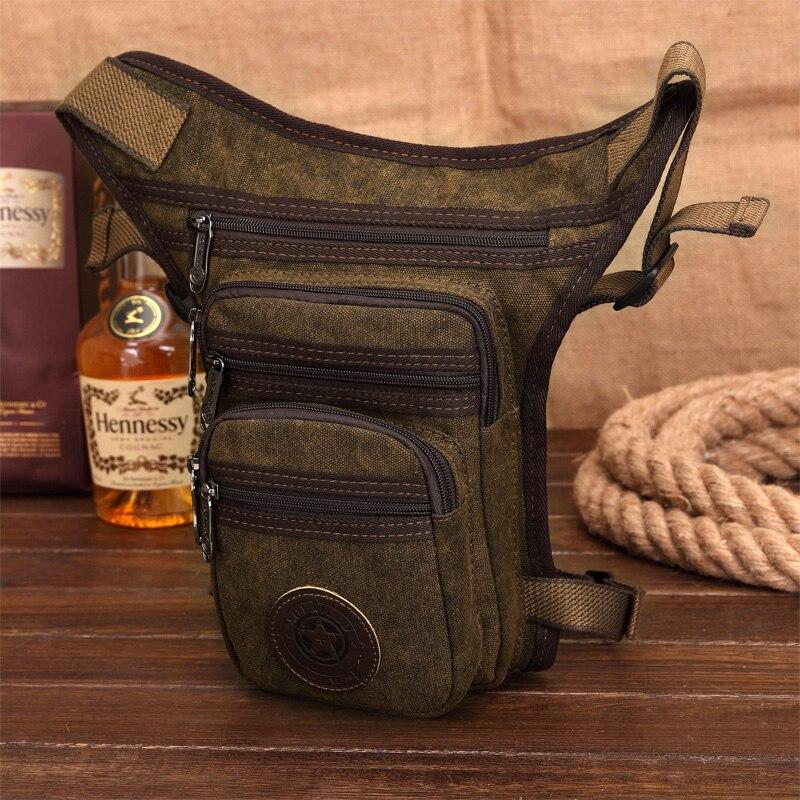 High Quality Canvas/Nylon Men Drop Leg Fanny Bag Military Waist Pack Bag Belt Hip Bum Purse Shoulder Crossbody Messenger Bags