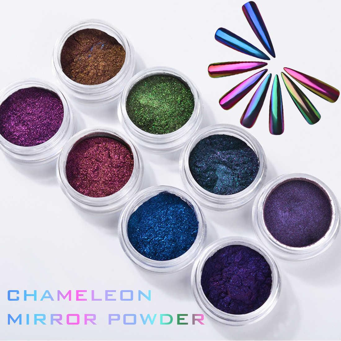Неоновые Chrome Маникюр УФ гель пигмент украшения порошок 0,5g 8 цветов Аврора зеркало-Хамелеон голографический волшебный блеск для ногтей