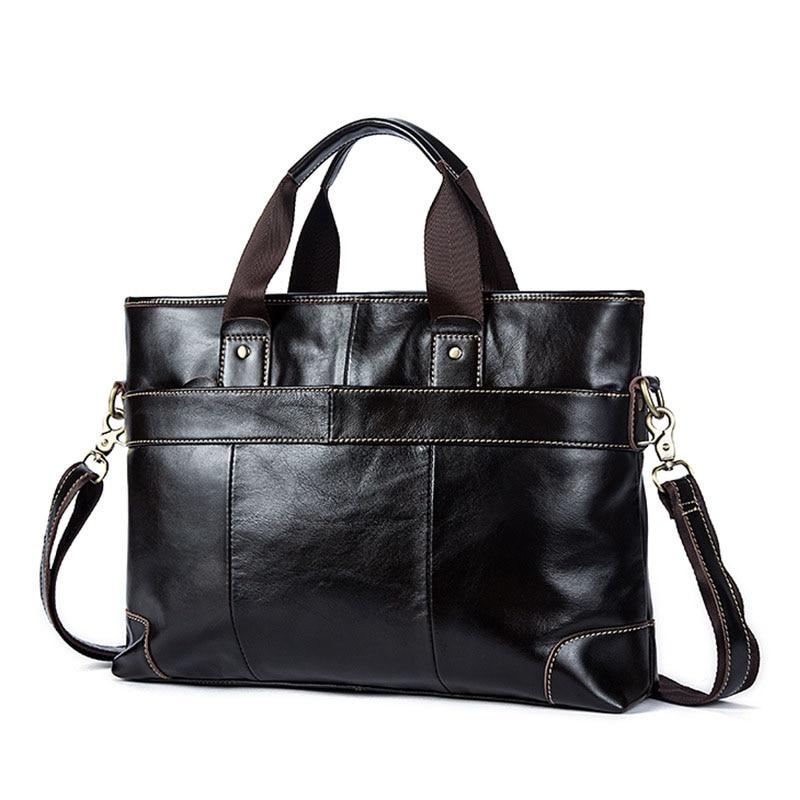 Factory direct business Fashion Genuine Leather Men's briefcase brand laptop Men's Vintage Solid Coffee Soft handbags