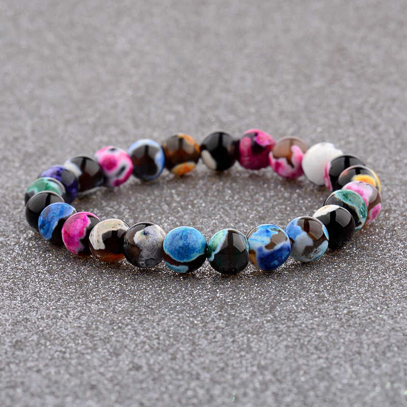 6 สไตล์ 8 มิลลิเมตรสีฟ้าหินธรรมชาติสร้อยข้อมือ Strand Multicolor 7 Chakra Healing Balance สร้อยข้อมือโยคะ Reiki Bijoux AB206
