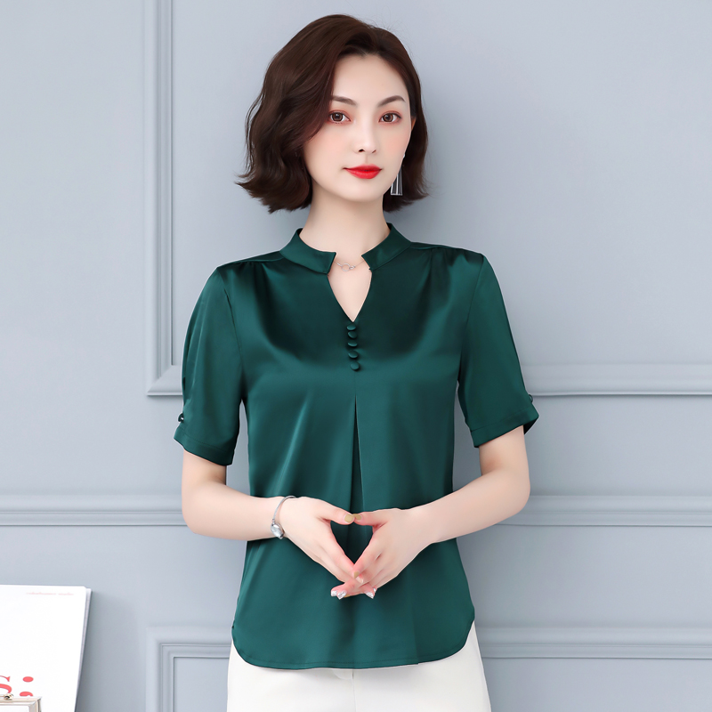 Korean Fashion Silk Women Blouses Satin V-Neck Womens Tops and Blouses Plus Size XXXL Pink Women Shirts Ladies Tops