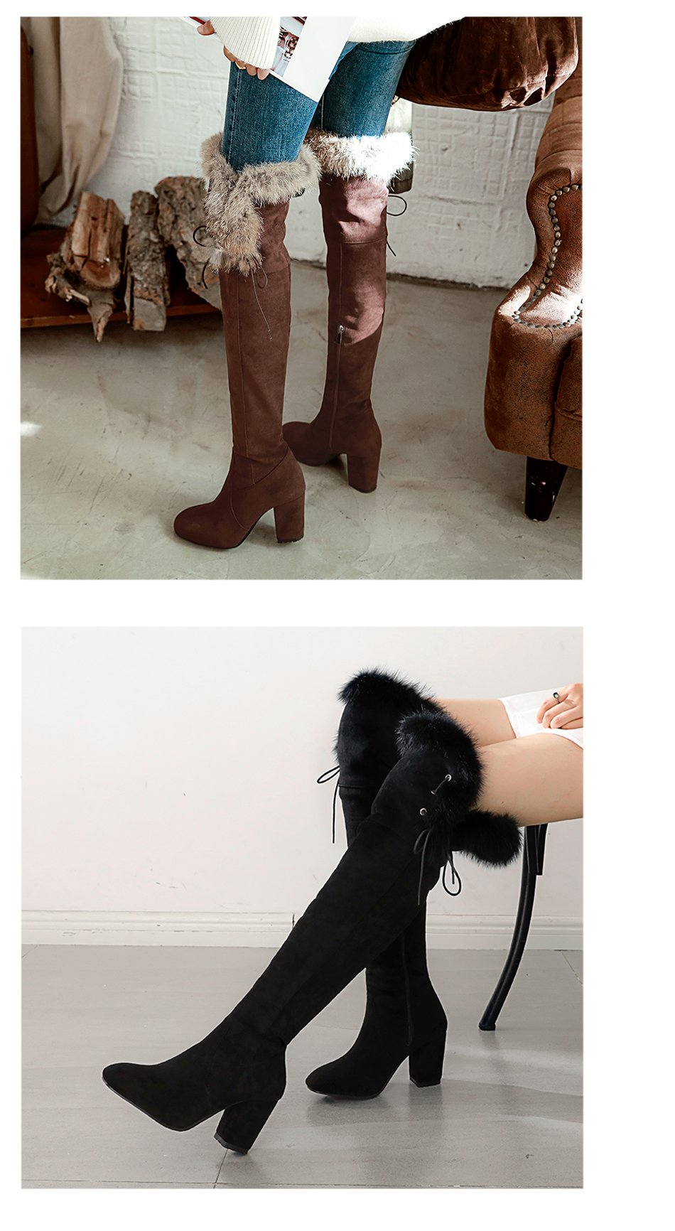 934f7114cee Gdgydh 2018 New Fashion Lacing Winter Knee High Boots Women High Heel Woman  Rubber Sole Leather Boots Spring Autumn Female ShoesUSD 53.99 pair