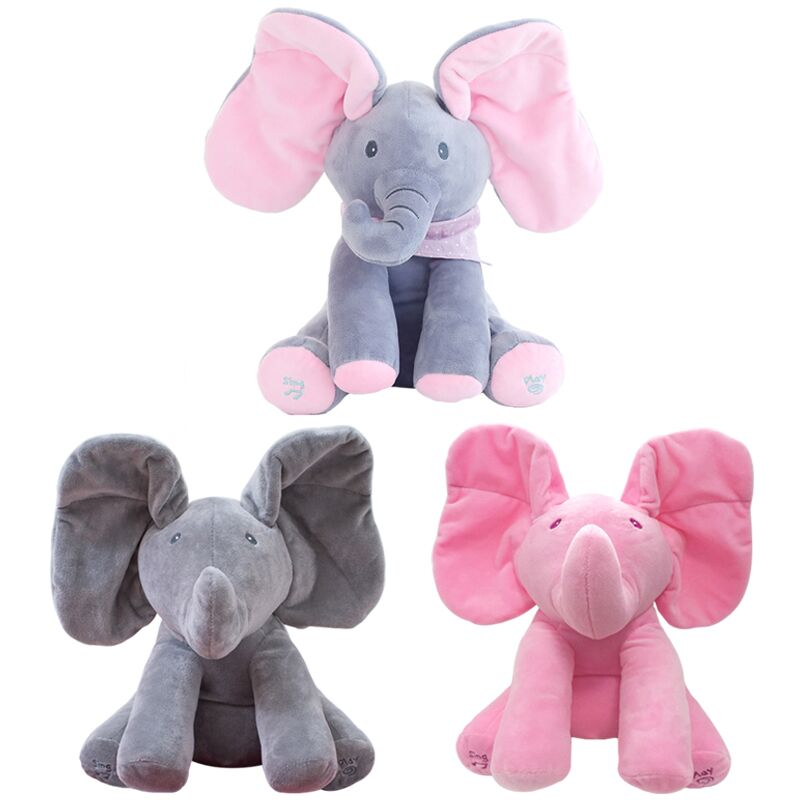 30CM Electric Toy Elephant Stuffed Animal Plush Toy Play Music Elephant Doll Educational Toy for Kids Children WJ493 30cm peek a boo elephant plush toy stuffed animal music elephant doll play hide and seek lovely cartoon toy for kids baby gift