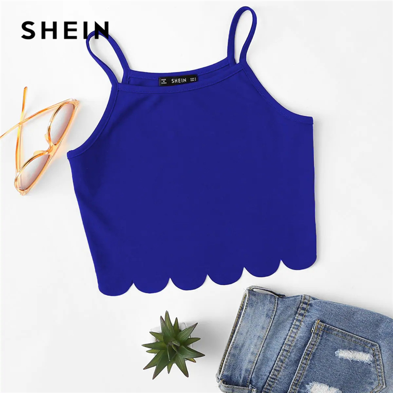 Image 2 - SHEIN Summer Red Tank Crop Top Vest Woman Vacation Casual Scallop Hem Crop Spaghetti Strap Slim Cami Top-in Camis from Women's Clothing