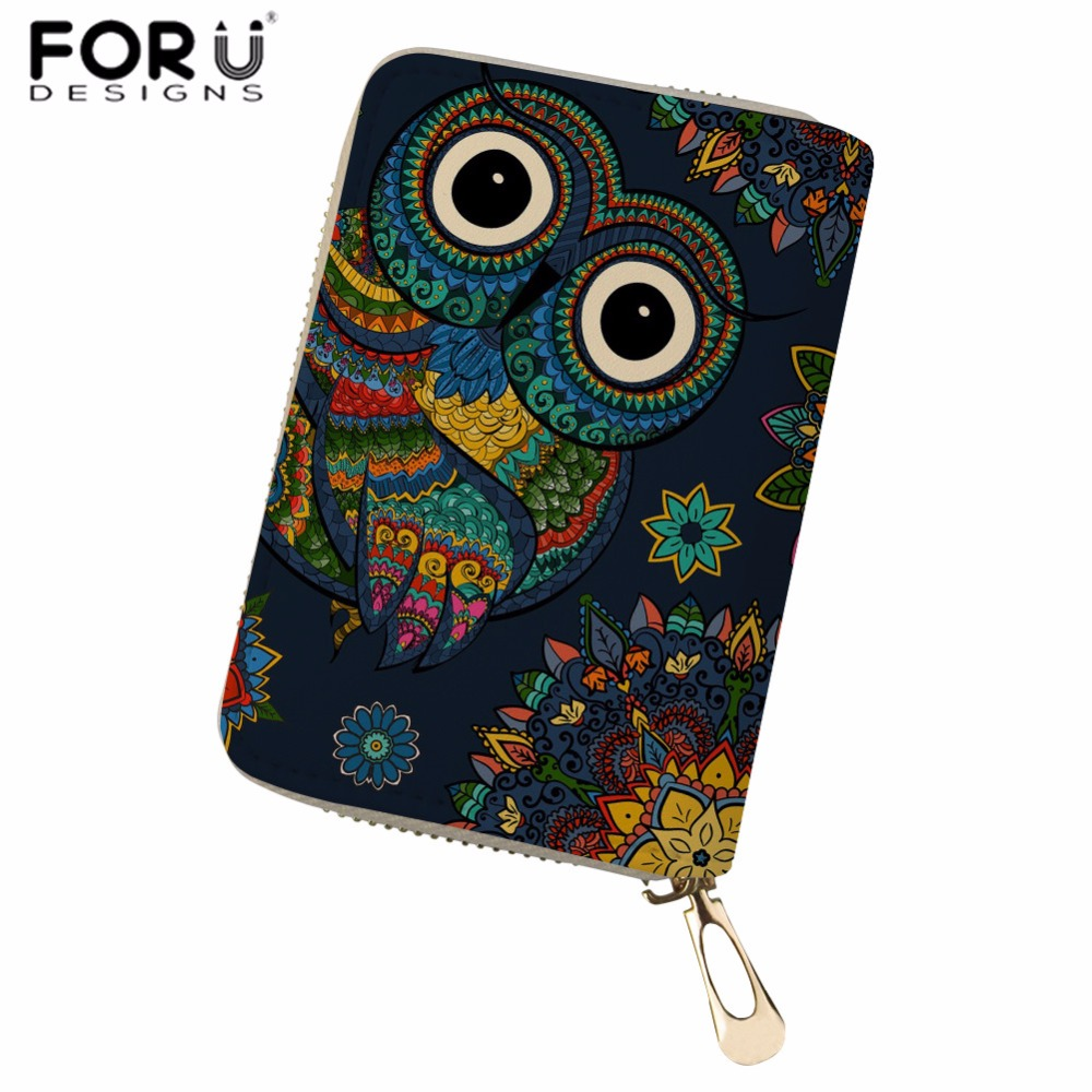 FORUDESIGNS Women Card ID Holders PU Leather Owl Animal Printed Credit Card Holder for Ladies Fashion Case for Card Coin Purses pu leather owl choker