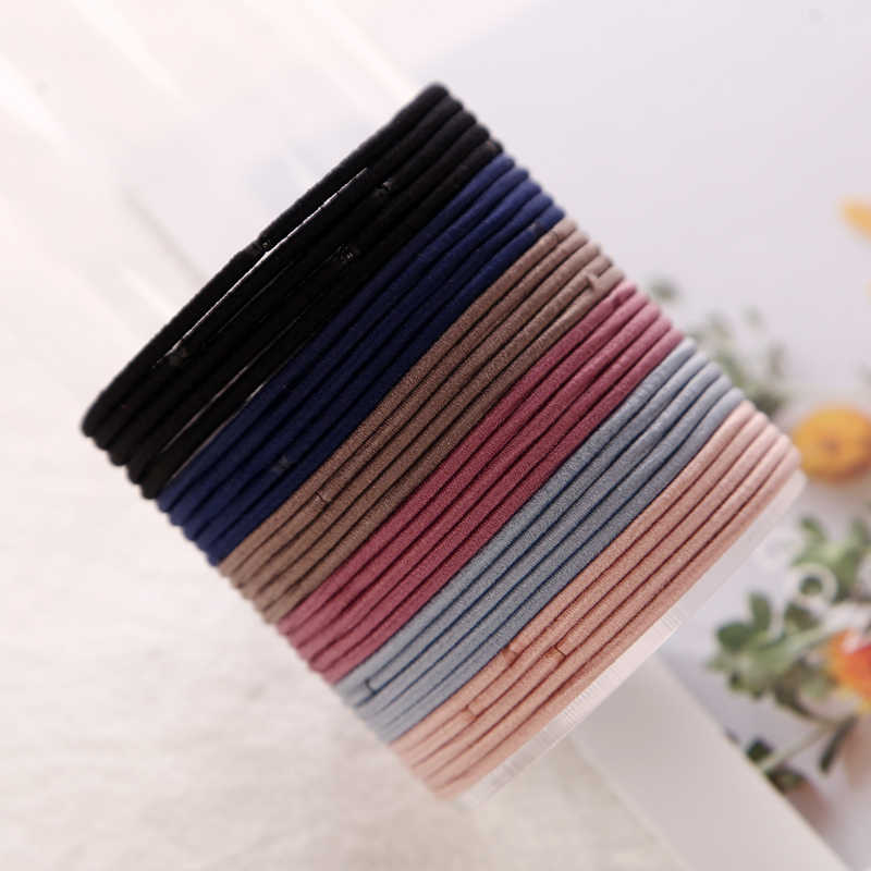 100pcs/lot 5CM Size Thin Elastic Rubber Bands 2MM Thick Korean Style Basic Girl Women Hair Accessories Tie Gum Hair Rope