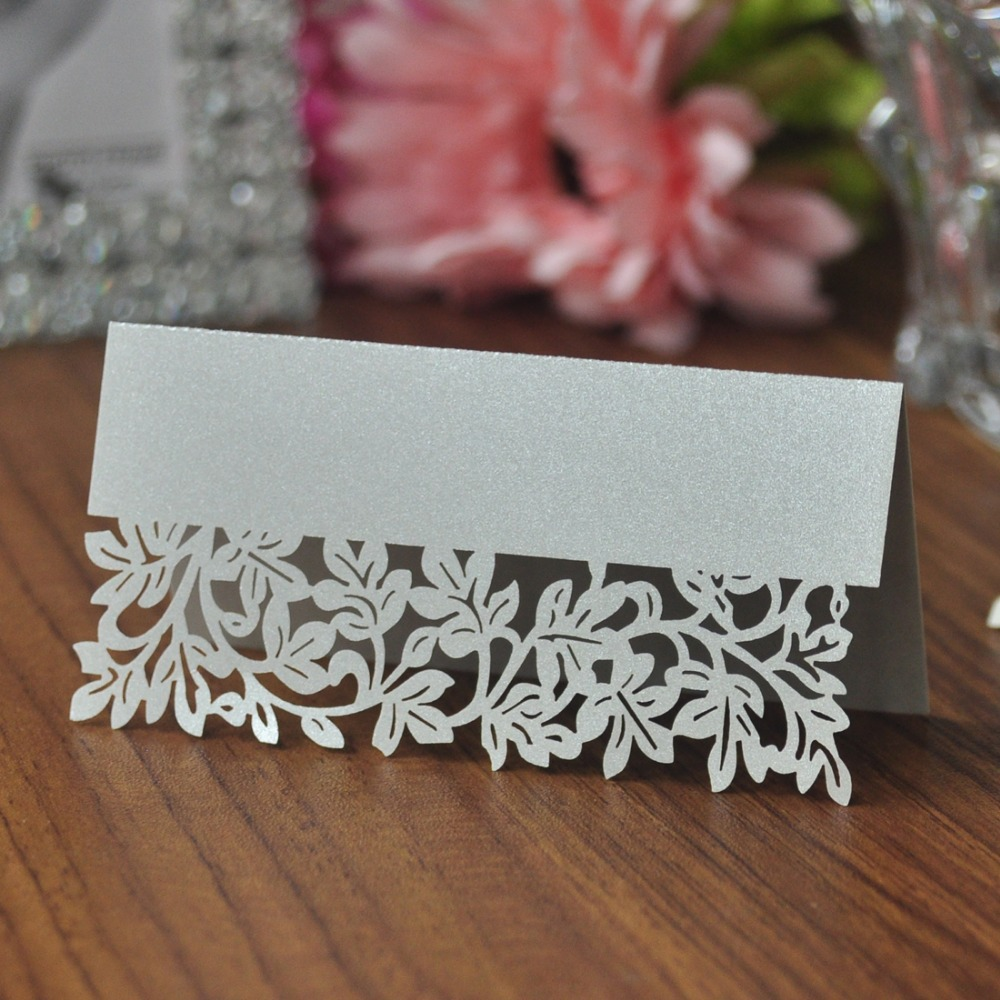 50pcs/pack Silver Leaf Shaped Laser Wedding Party Table Mark Card Name Place Cards Favor Decor Party Supplies 50pcs lovely shell place name cards wedding birthday party table setting decor