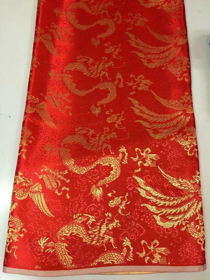8 Meters/pc merveilleux tissu de coton africain rouge et motif de dragon d'or broderie dentelle de voile suisse pour vêtements JC22-1