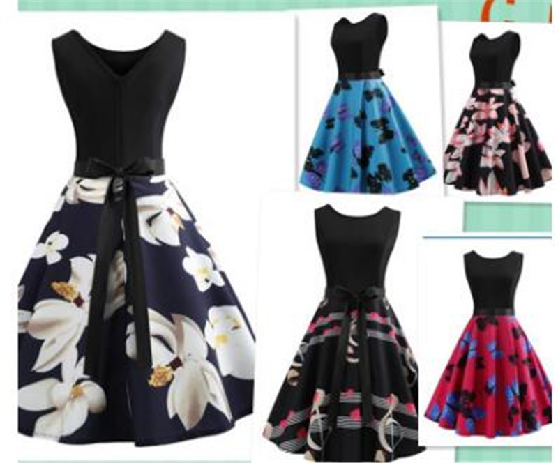 Women's Ladies 50s Style Vintage Retro Rockabilly Evening Party Swing Dress